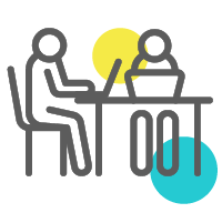 Two figures working hard at a desk icon